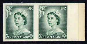 New Zealand 1953-59 QEII 2d bluish green IMPERF horiz pair on thin card, rare thus, as SG726