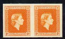 New Zealand 1954 Official QEII 1d orange IMPERF horiz pair on thin card, rare thus, as SG O159