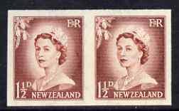 New Zealand 1955-59 QEII 1.5d brown-lake (large numeral) IMPERF horiz pair on wmk'd gummed paper unmounted mint, SG 746var