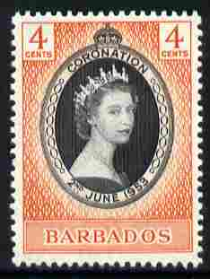 Barbados 1953 Coronation 4c unmounted mint SG 302