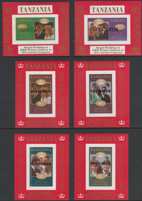 Tanzania 1986 Royal Wedding (Andrew & Fergie) the unissued set of 6 individual imperf deluxe sheets (10s, 20s, 30s, 60s, 80s & 90s) each overprinted SPECIMEN unmounted mint