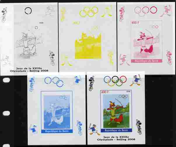 Benin 2008 Beijing Olympics - Disney Characters - Archery individual deluxe sheet - the set of 5 imperf progressive proofs comprising the 4 individual colours plus all 4-...