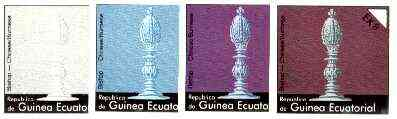 Equatorial Guinea 1976 Chessmen EK8 (Chinese/Burmese Bishop) set of 4 imperf progressive proofs on ungummed paper comprising 1, 2, 3 and all 4 colours (as Mi 959)