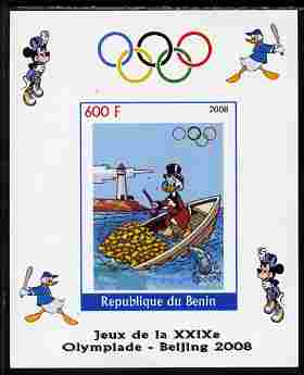 Benin 2008 Beijing Olympics - Disney Characters - Rowing, Gold Coins & Lighthouse imperf individual deluxe sheet unmounted mint. Note this item is privately produced and ...