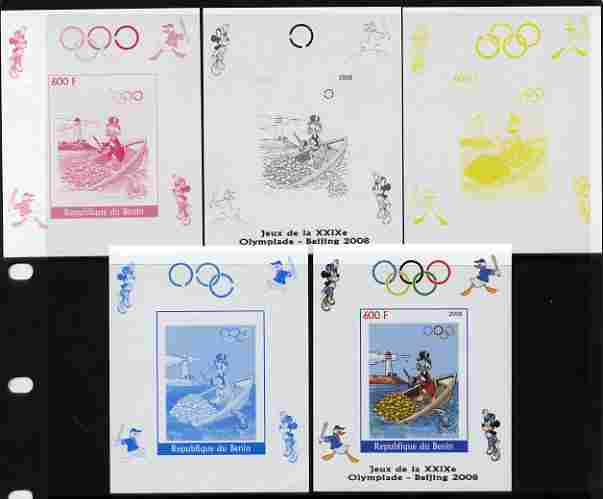 Benin 2008 Beijing Olympics - Disney Characters - Rowing, Gold Coins & Lighthouse individual deluxe sheet - the set of 5 imperf progressive proofs comprising the 4 indivi...