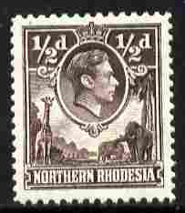 Northern Rhodesia 1938-52 KG6 1/2d chocolate P12.5 unmounted mint, SG 26