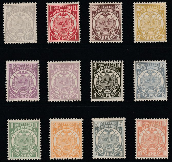 Transvaal 1885-93 General Issue set of 12 values 1/2d to 10s Perf 12.5 unmounted mint probable reprints, SG 175-186 cat �110