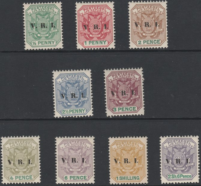 Transvaal 1900 V.R.I. overprint set of 9 values 1/2d to 2s6d,  unmounted mint probable reprints, SG 226-234