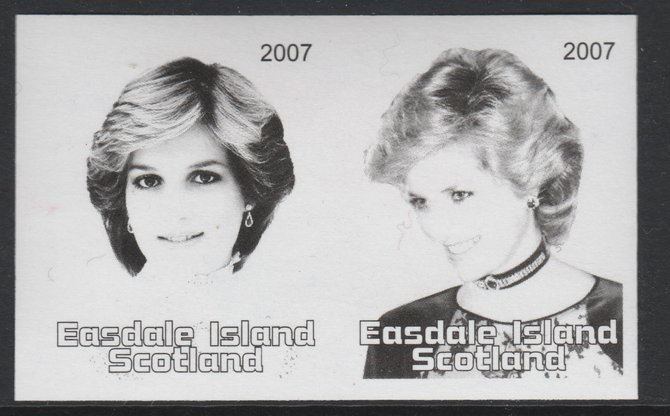 Easdale 2007 Princess Diana \A31.50 #1 imperf se-tenant proof pair in black & grey only, unmounted mint