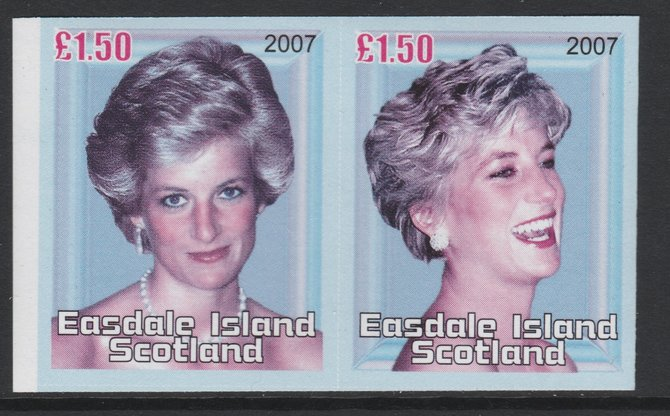 Easdale 2007 Princess Diana \A31.50 #4 imperf se-tenant proof pair with yellow ommited (printed in magenta, blue, black & grey only) unmounted mint