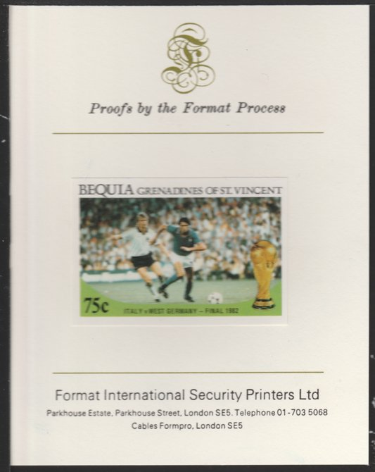St Vincent - Bequia 1986 World Cup Football 75c (Italy v W Germany) imperf proof mounted on Format International proof card