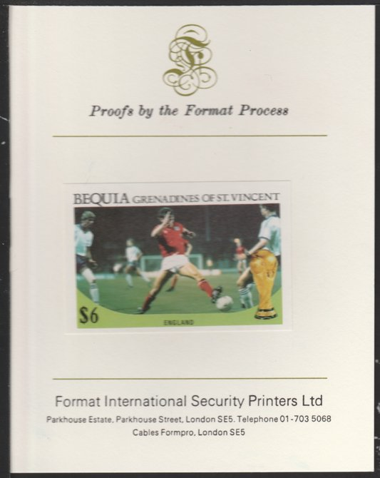 St Vincent - Bequia 1986 World Cup Football $6 (England Team) imperf proof mounted on Format International proof card