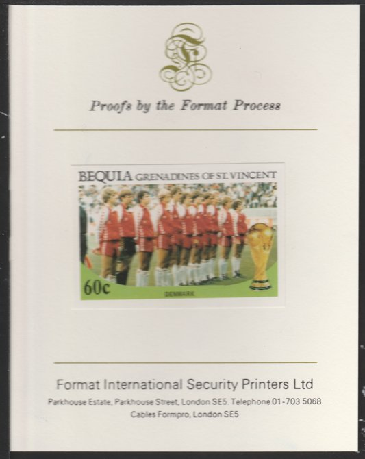 St Vincent - Bequia 1986 World Cup Football 60c (Denmark Team) imperf proof mounted on Format International proof card