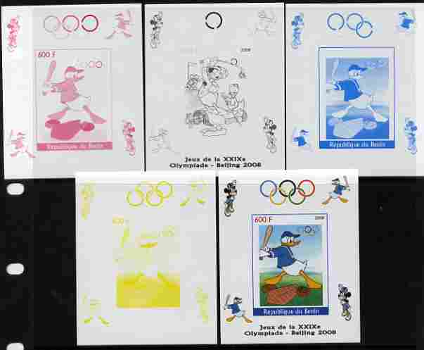 Benin 2008 Beijing Olympics - Disney Characters - Baseball individual deluxe sheet - the set of 5 imperf progressive proofs comprising the 4 individual colours plus all 4...