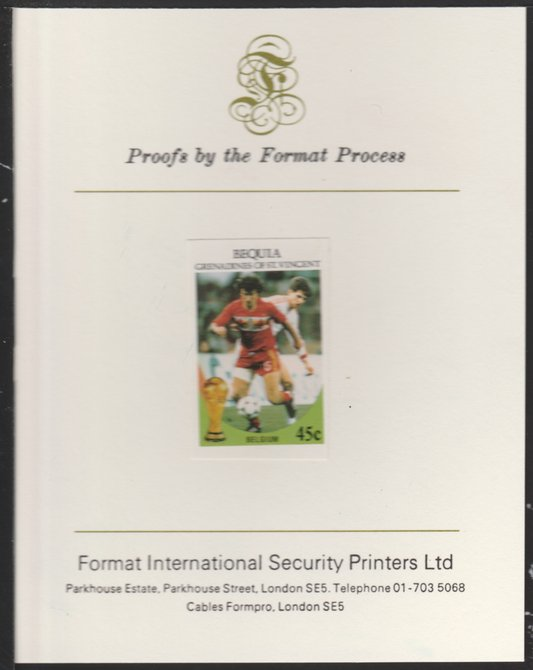St Vincent - Bequia 1986 World Cup Football 45c (Belgium)  imperf proof mounted on Format International proof card