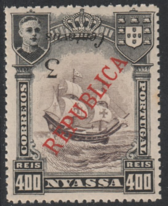 Nyassa Company 1921 Provisional 3c on 400r (Lisbon surcharge) with SURCHARGE INVERTED, unmounted mint