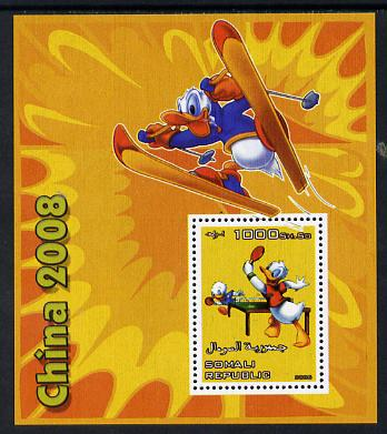 Somalia 2006 Beijing Olympics (China 2008) #03 - Donald Duck Sports - Table Tennis & Skiing perf souvenir sheet unmounted mint. Note this item is privately produced and is offered purely on its thematic appeal