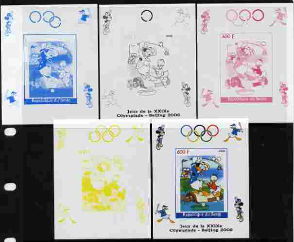 Benin 2008 Beijing Olympics - Disney Characters - Golf individual deluxe sheet - the set of 5 imperf progressive proofs comprising the 4 individual colours plus all 4-colour composite, unmounted mint
