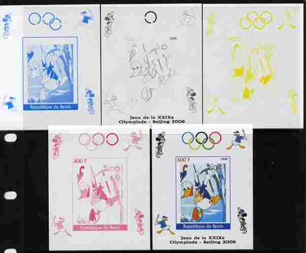 Benin 2008 Beijing Olympics - Disney Characters - Mountaineering individual deluxe sheet - the set of 5 imperf progressive proofs comprising the 4 individual colours plus...