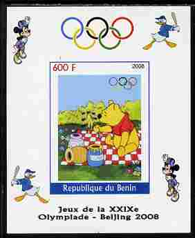 Benin 2008 Beijing Olympics - Disney Characters - Pooh Bear imperf individual deluxe sheet unmounted mint. Note this item is privately produced and is offered purely on its thematic appeal