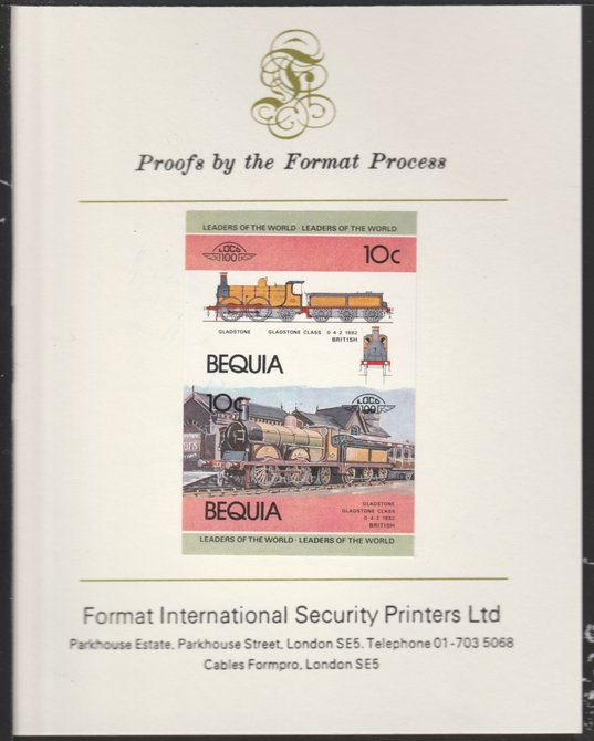 St Vincent - Bequia 1984 Locomotives #1 (Leaders of the World) 10c (Gladstone Class) se-tenant pair imperf mounted on Format International proof card