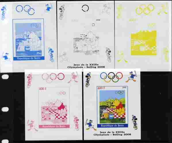 Benin 2008 Beijing Olympics - Disney Characters - Pooh Bear individual deluxe sheet - the set of 5 imperf progressive proofs comprising the 4 individual colours plus all ...