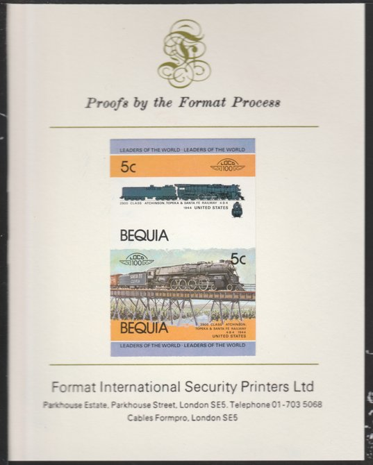 St Vincent - Bequia 1984 Locomotives #1 (Leaders of the World) 5c (4-8-4 Atcheson, Topeka & Santa Fe) se-tenant pair imperf mounted on Format International proof card