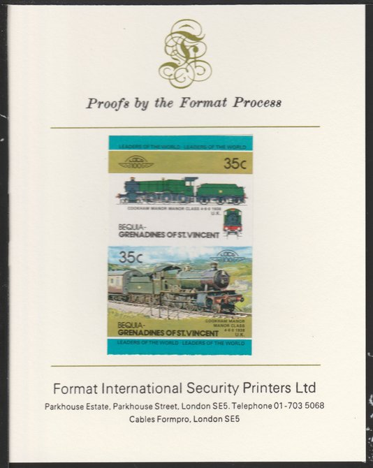 St Vincent - Bequia 1984 Locomotives #2 (Leaders of the World) 35c (4-6-0 Manor Class) se-tenant pair imperf mounted on Format International proof card