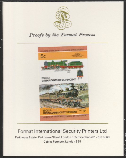 St Vincent - Bequia 1984 Locomotives #2 (Leaders of the World) 5c (4-4-2 Jersey Lily) se-tenant pair imperf mounted on Format International proof card