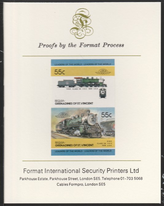 St Vincent - Bequia 1985 Locomotives #4 (Leaders of the World) 55c (4-6-2  Class H4 USA) imperf se-tenant pair mounted on Format International proof card