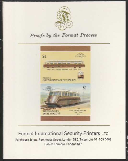 St Vincent - Bequia 1987 Locomotives #5 (Leaders of the World) $1 (GWR Diesel Railcar) imperf se-tenant pair mounted on Format International proof card
