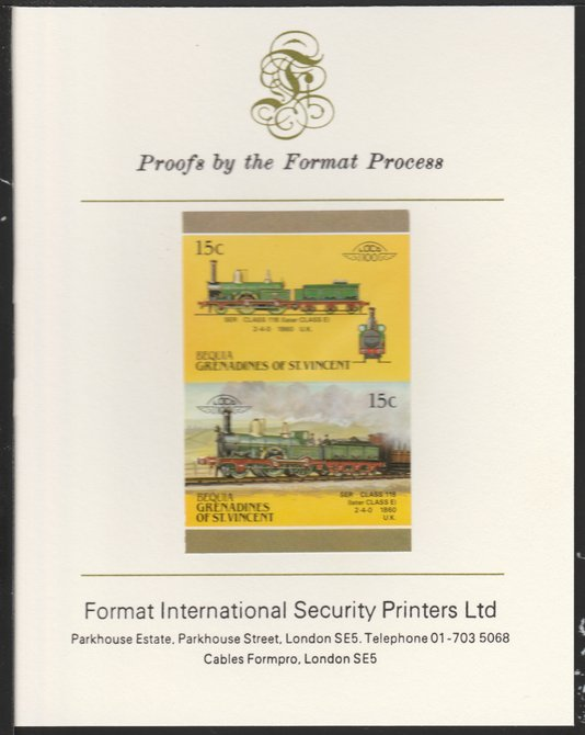 St Vincent - Bequia 1987 Locomotives #5 (Leaders of the World) 15c (2-4-0 SER Class 118) imperf se-tenant pair mounted on Format International proof card