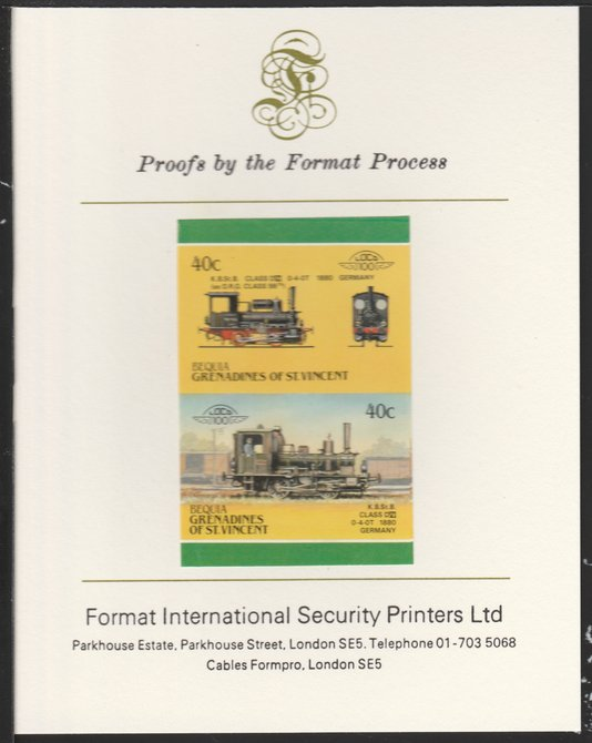 St Vincent - Bequia 1987 Locomotives #5 (Leaders of the World) 40c (0-4-0 Class DVI Germany) imperf se-tenant pair mounted on Format International proof card