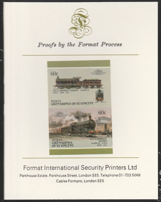 St Vincent - Bequia 1987 Locomotives #5 (Leaders of the World) 60c (0-6-0 Hull & Barnsley Class LS) imperf se-tenant pair mounted on Format International proof card