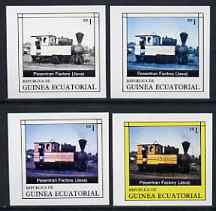 Equatorial Guinea 1977 Locomotives EK1 (Java Factory loco) set of 4 imperf progressive proofs on ungummed paper comprising 1, 2, 3 and all 4 colours (as Mi 1145)