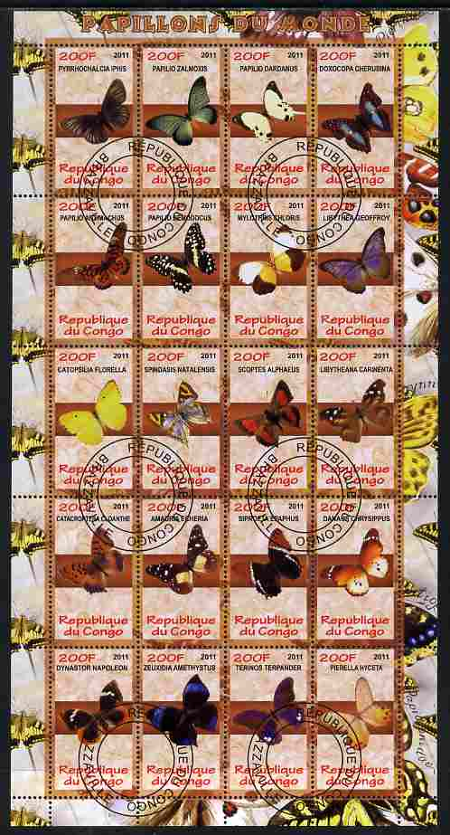 Congo 2011 Butterflies of the World #2 perf sheetlet containing 20 values fine cto used