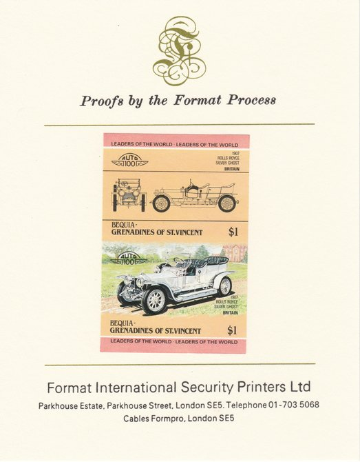 St Vincent - Bequia 1984 Cars #1 (Leaders of the World) $1 (1907 Rolls Royce) imperf se-tenant pair mounted on Format International proof card