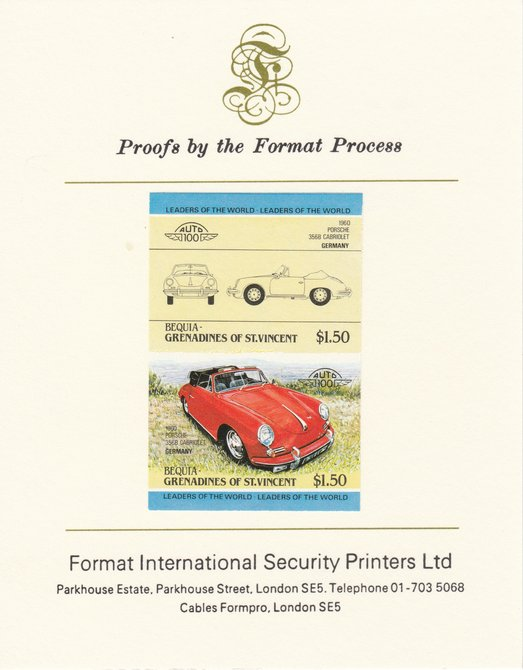 St Vincent - Bequia 1984 Cars #1 (Leaders of the World) $1.50 (1960 Porsche) imperf se-tenant pair mounted on Format International proof card, stamps on cars