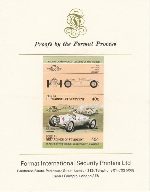 St Vincent - Bequia 1984 Cars #1 (Leaders of the World) 40c (1936 Auto Union) imperf se-tenant pair mounted on Format International proof card