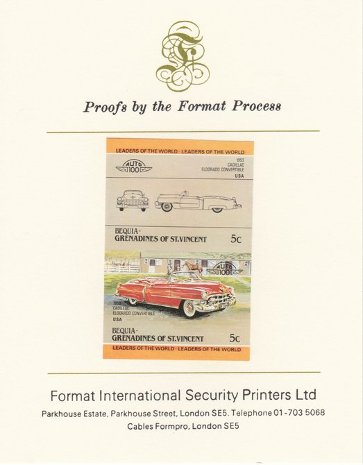 St Vincent - Bequia 1984 Cars #1 (Leaders of the World) 5c (1953 Cadillac) imperf se-tenant pair mounted on Format International proof card