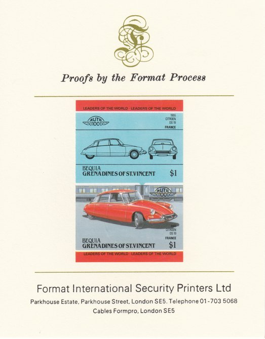 St Vincent - Bequia 1984 Cars #2 (Leaders of the World) $1 (1955 Citroen DS 19) imperf se-tenant pair mounted on Format International proof card