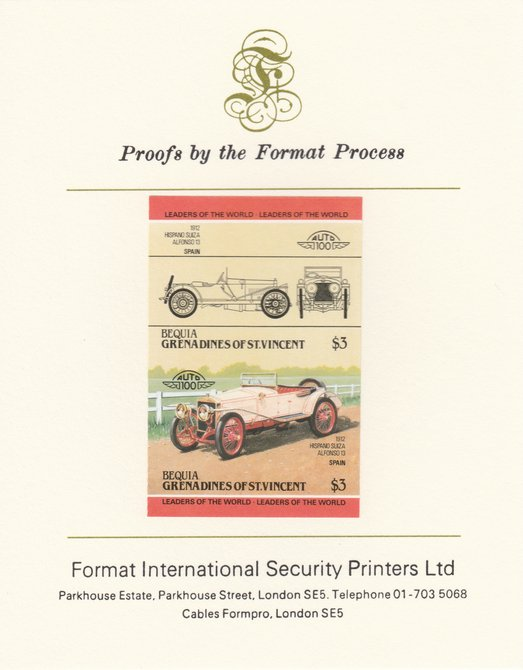 St Vincent - Bequia 1984 Cars #2 (Leaders of the World) $3 (1912 Hispano Suiza) imperf se-tenant pair mounted on Format International proof card