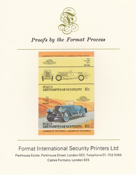 St Vincent - Bequia 1984 Cars #2 (Leaders of the World) 10c (1924 Leyland Eight) imperf se-tenant pair mounted on Format International proof card