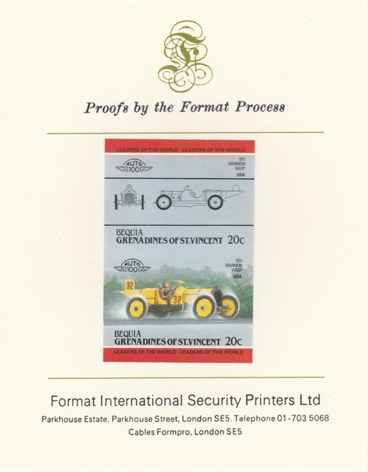 St Vincent - Bequia 1984 Cars #2 (Leaders of the World) 20c (1911 Marmon Wasp) imperf se-tenant pair mounted on Format International proof card