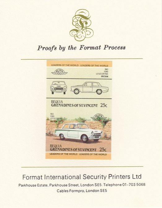 St Vincent - Bequia 1984 Cars #2 (Leaders of the World) 25c (1963 Ford Lotus Cortina) imperf se-tenant pair mounted on Format International proof card