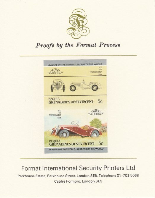 St Vincent - Bequia 1984 Cars #2 (Leaders of the World) 5c (1932 Fiat Balilla) imperf se-tenant pair mounted on Format International proof card