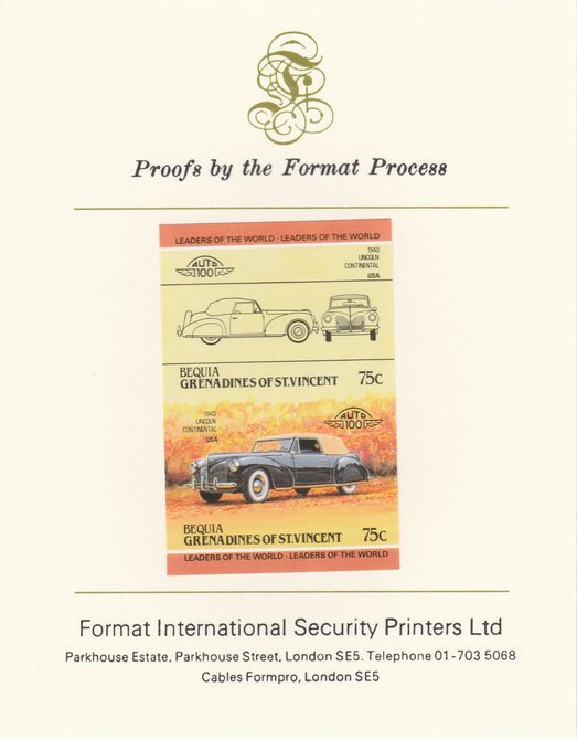 St Vincent - Bequia 1984 Cars #2 (Leaders of the World) 75c (1940 Lincoln Continental) imperf se-tenant pair mounted on Format International proof card