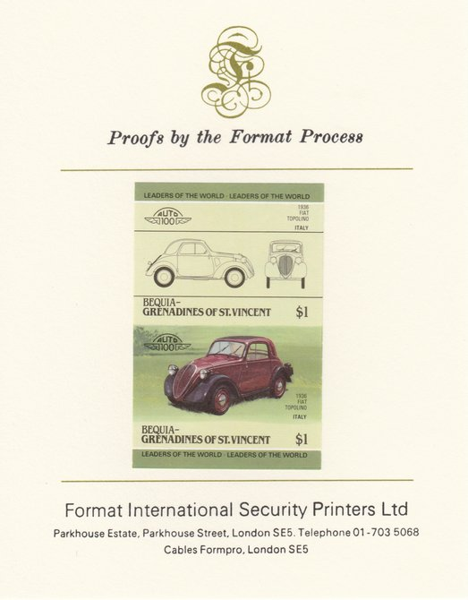 St Vincent - Bequia 1985 Cars #3 (Leaders of the World) $1 (1936 Fiat) imperf se-tenant pair mounted on Format International proof card