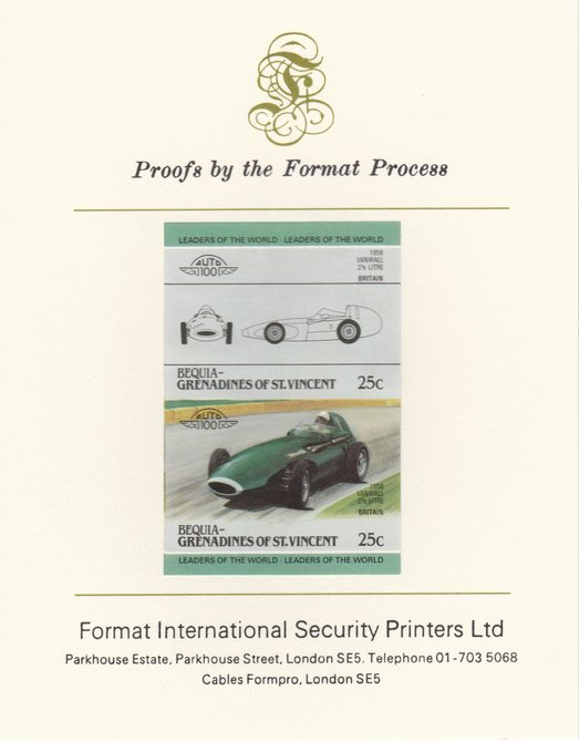 St Vincent - Bequia 1985 Cars #3 (Leaders of the World) 25c (1958 Vanwall 2.5 Litre) imperf se-tenant pair mounted on Format International proof card