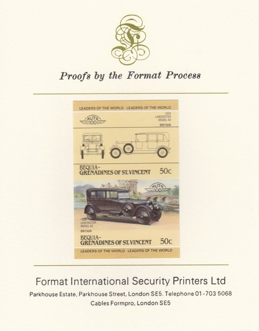 St Vincent - Bequia 1985 Cars #3 (Leaders of the World) 50c (1924 Lanchester) imperf se-tenant pair mounted on Format International proof card